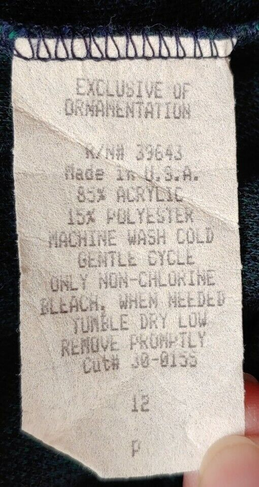 Vintage Navy & Green Plaid Knit Pants - image 7