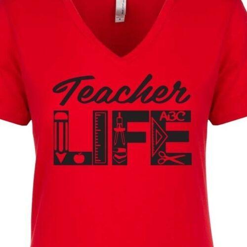 Teacher Life Class School Education Love Work Student PTA Women/'s V-Neck T-Shirt