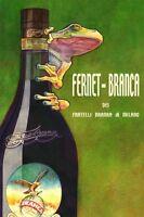 Fernet Branca Frog Milan Italy Italia Liquor Vintage Poster Repro Free S/h In Us
