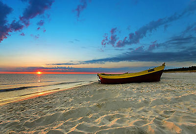 Framed Print - Wooden Boat on a Sandy Beach at Sunset (Picture Ocean Water Sea)