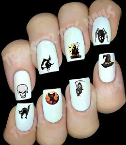 HALLOWEEN-Stickers-autocollant-ongles-manucure-nail-art-water-decal-deco