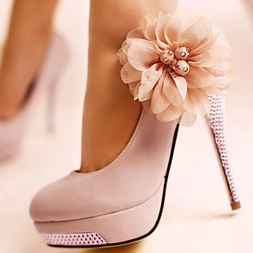 Women Bridal Shoes Flower Stiletto Glitter High Heel Platform Wedding Pumps