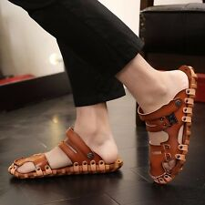 Men's Leather Summer Beach Shoes Outdoor Slippers Fisherman Closed Toe Sandals