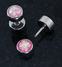 Pair 16G Surgical Steel Pink Opal Glitter Fake Large Gauge Looking Ear Plugs