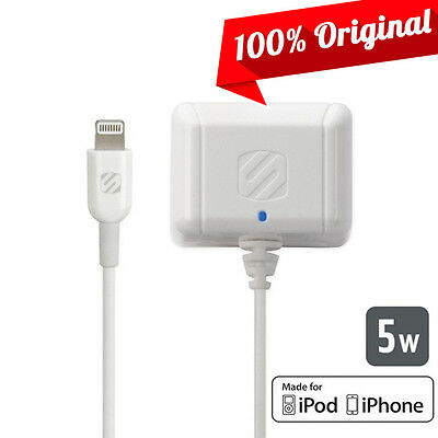 Scosche White strikeBASE 5W/1A Lightning Wall Home Charger for iPhone 5 5C 5S