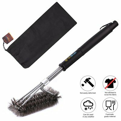 BBQ Grill Brush Stainless Steel Barbecue Cleaning Tool Woven Wire Kitchen Clean