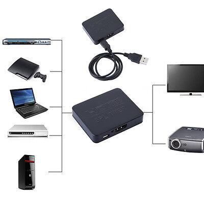 1080p HDMI Splitter 1X2 2 Port Hub Repeater Amplifier v1.4 3D Full HD 1 in 2 out
