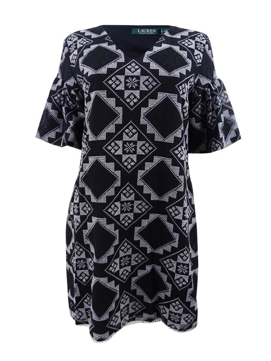 Lauren by Ralph Lauren Woherren Plus Größe Geo-Print Shift Dress (20W, schwarz)