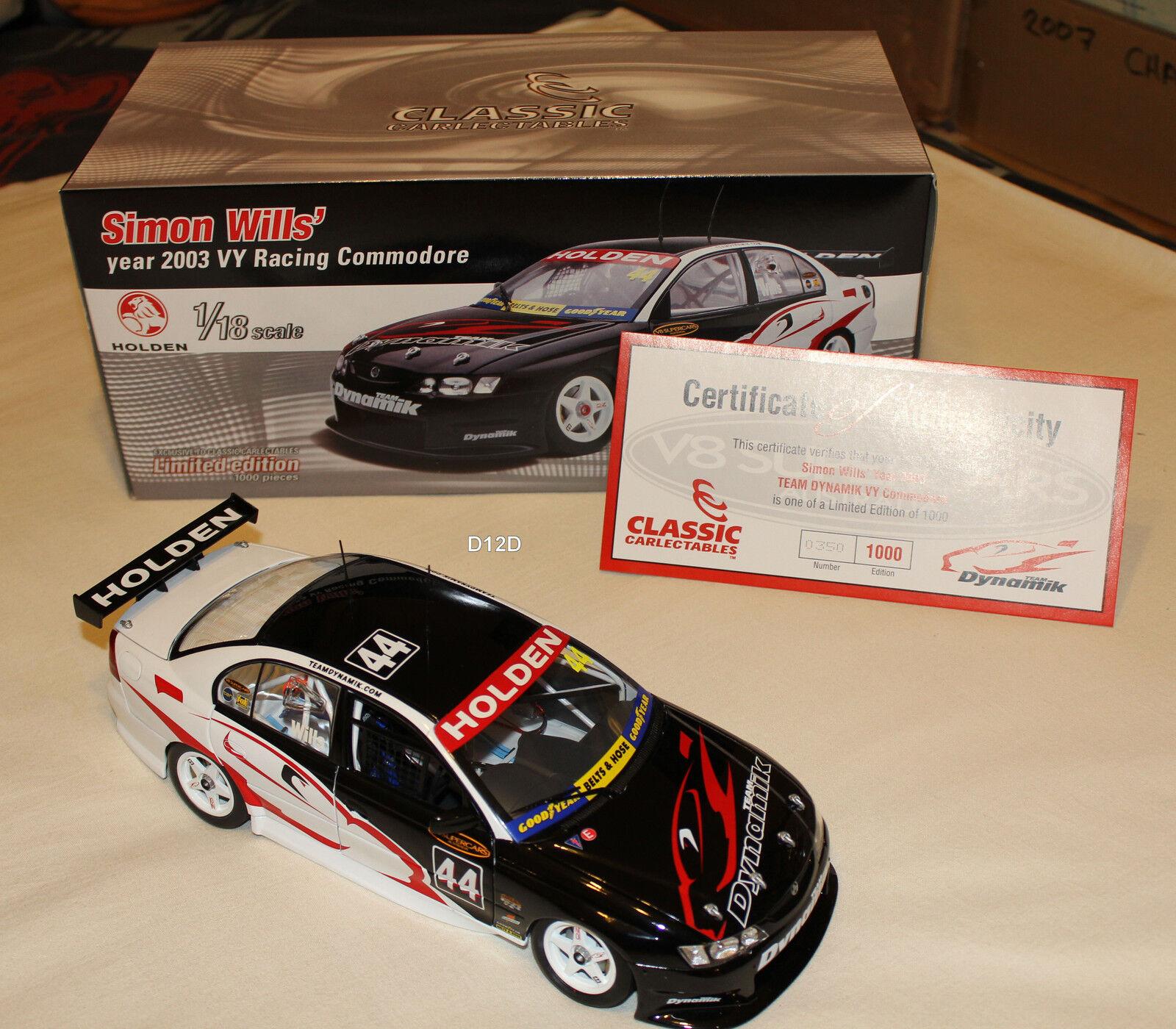 Simon Wills 2003 Team Dynamik Holden VY Commodore V8 Supercar 1 18 New