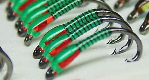 3-X-Insect-green-buzzers-red-hollo-cheeks-size-12-trout-fishing-buzzers-hot-flie