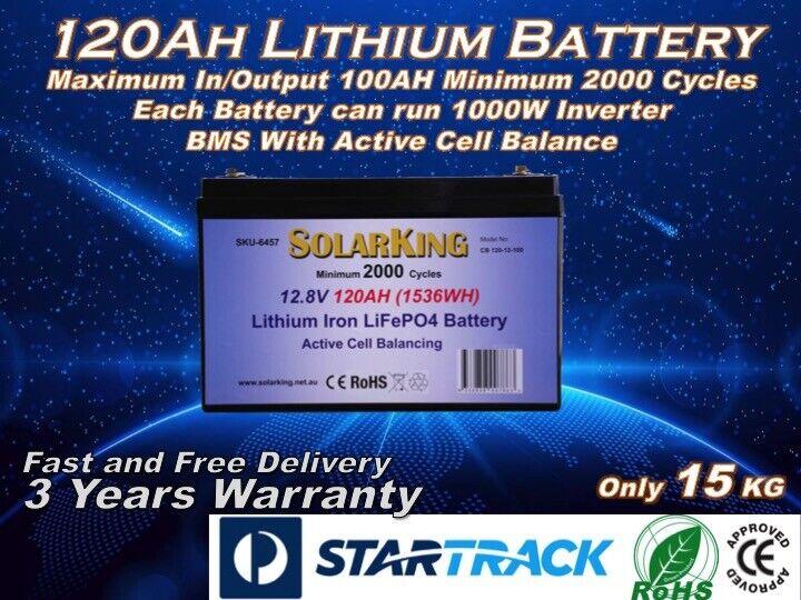 12V 120Amp Lithium Battery Ion LiFePo4 Deep Cycle Rechargeable Caravan Boat Van