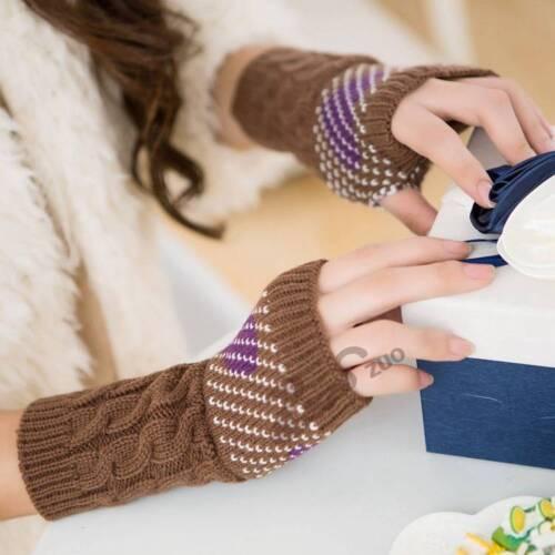 Fashion Womens Winter Warm Long  Kint Half Finger Fingerless Gloves Mittens