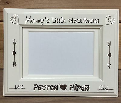 """4x6 /& 5x7 Valentine/'s /""""Mommy/'s Little Heartbeats/"""" Picture Frame Laser Engraved"""