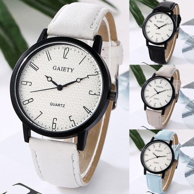 Women Watch Stainless-Steel PPU Leather Analog Quartz Simple Wrist Watch\