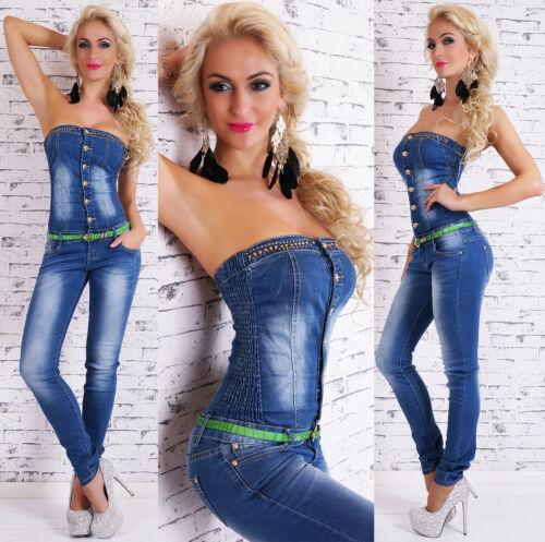 Women/'s Strapless Denim Jeans Jumpsuit Overall Belt XS//S//M//L//XL