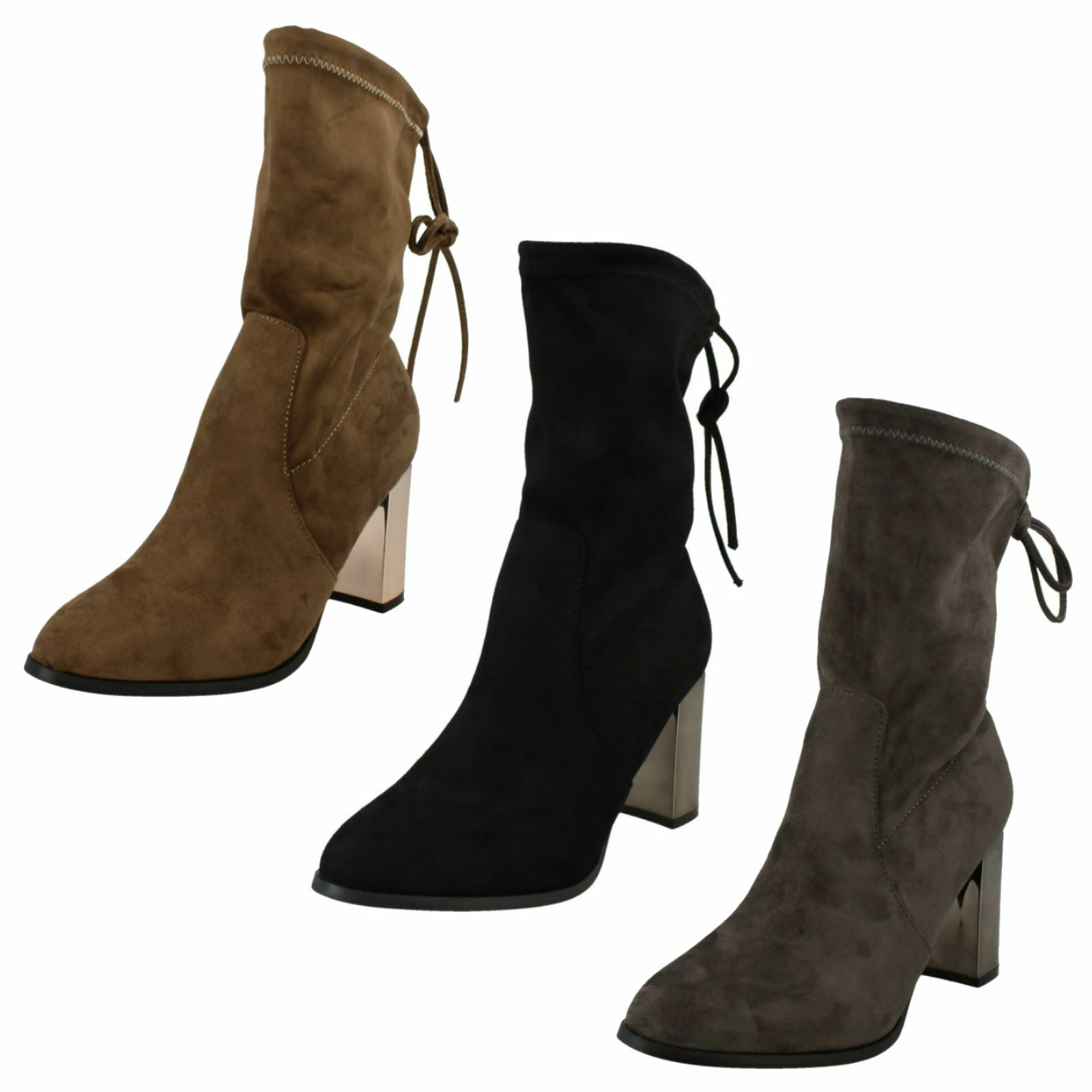 Ladies Spot On Stretchy Mid Calf Length Boots