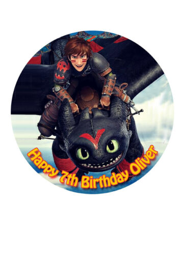 """How to Train Your Dragon CAKE TOPPER PARTY PERSONALISED ICING SUGAR 7.5/"""" img D55"""