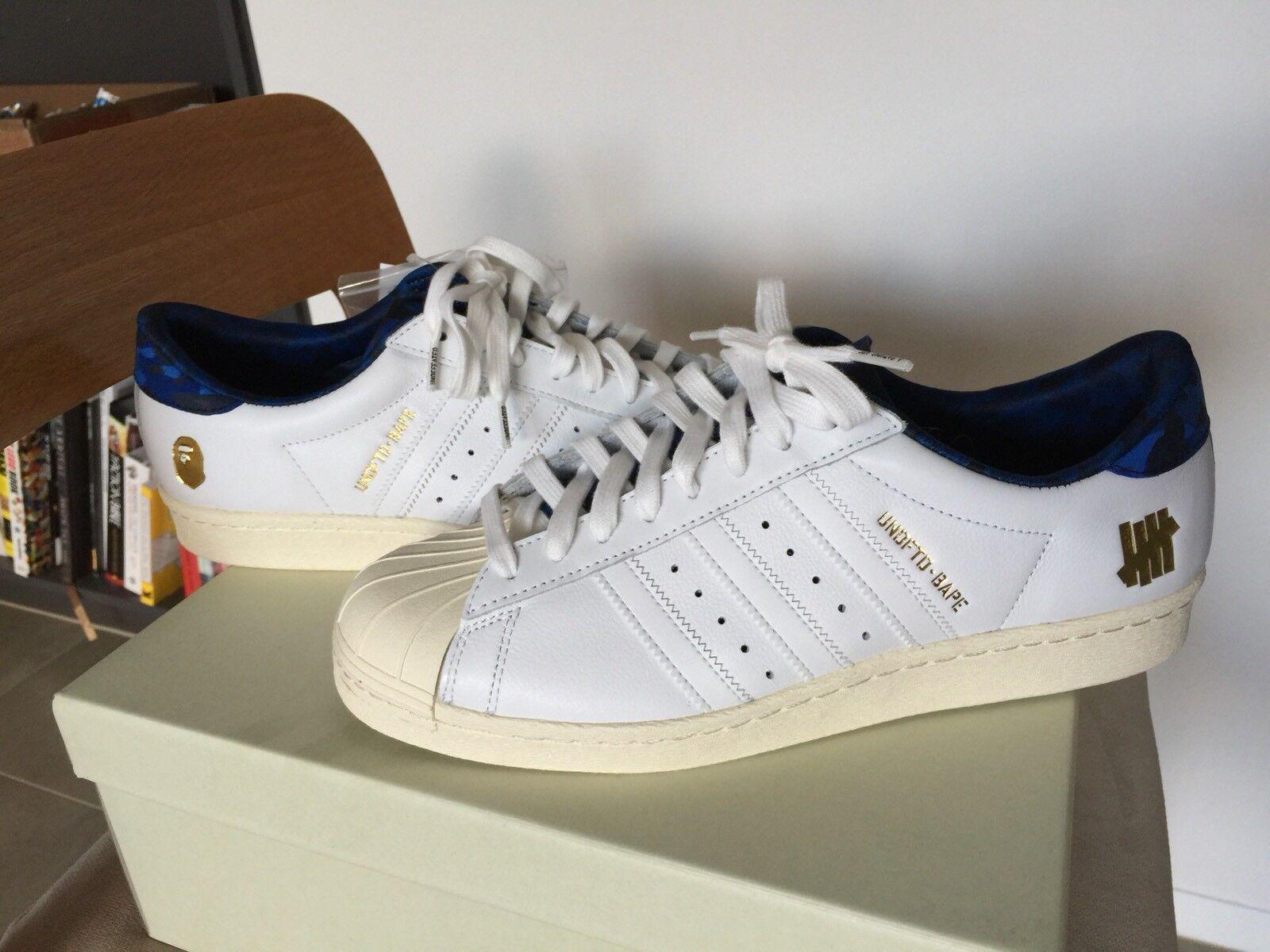 Bape Undefeated x Adidas 9.5 Superstar 80s Azul Blanco 9.5 Adidas Undefeated ffe38a