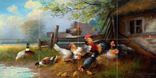 Poultry farm rooster Tile Mural Kitchen Bathroom Wall Backsplash Marble Ceramic