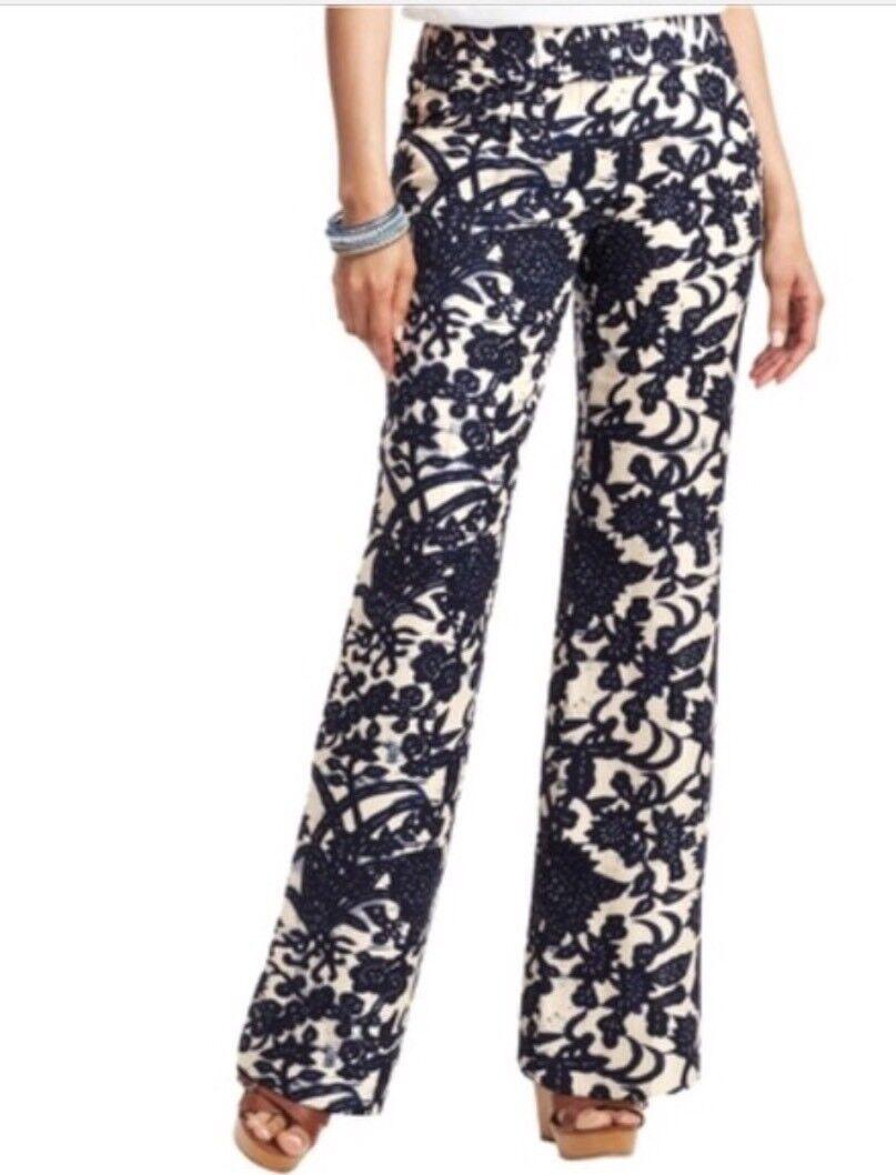 120 Ann Taylor LOFT Pants Wide Leg MARISA Trouser 100% LINEN Vine Sz 00 Navy