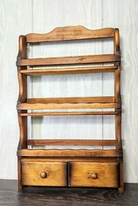 Vintage-Wood-Hanging-Spice-Herb-Rack-3-Tier-Shelves-Scalloped-Edge-With-Drawers