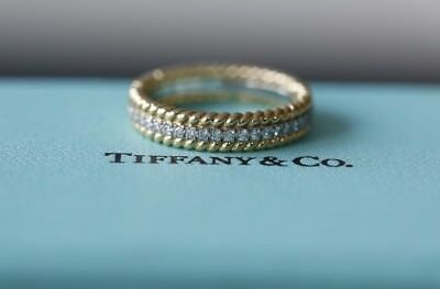 9d25fed07ee3a TIFFANY & CO. SCHLUMBERGERROPE TWO-ROW RING Platinum 18ct Gold Diamonds SZ  6.5 N | eBay