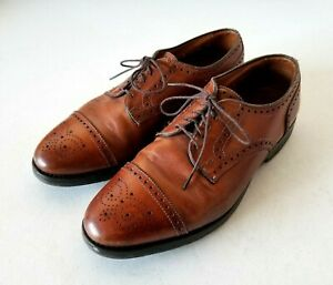Allen-Edmonds-Size-8-E-Sanford-Cap-Toe-Derby-Mens-Wingtip-Oxford-Bourbon-Brown