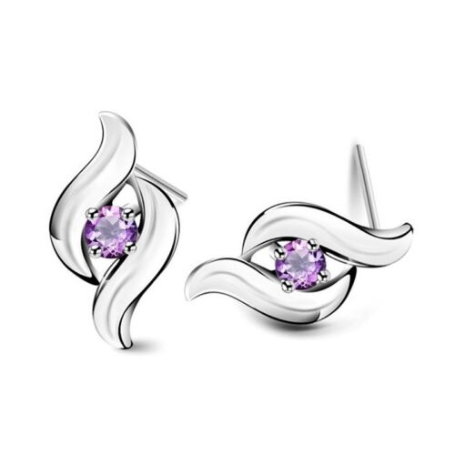 Lila violett Zirkonia Ohrstecker Ohrstick aus 925 Silber Luxus LED Schmuckbox