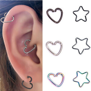10 Surgical Steel Heart Ring Hoop Helix Cartilage Tragus Daith