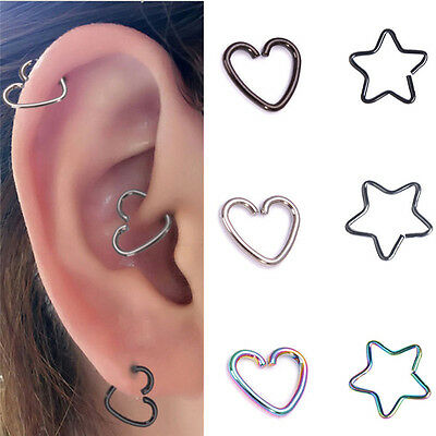 10 Surgical Steel Heart Ring Piercing Hoop Earring Helix Cartilage Tragus Daith