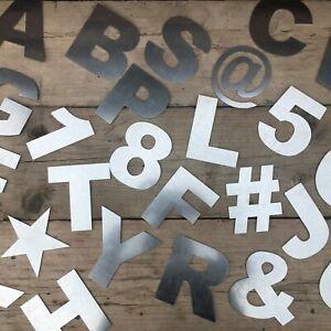 """5"""" Acier Galvanisé Fat Police Lettres Metal Shop Home Maison Signe Lettrage Mots-afficher Le Titre D'origine"""
