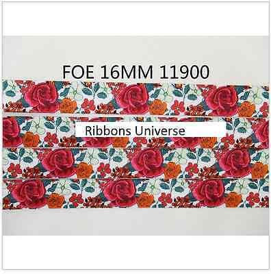 1 meter 16mm 5/8 Fold Over Elastic FOE Rose Flower ribbon headband diy