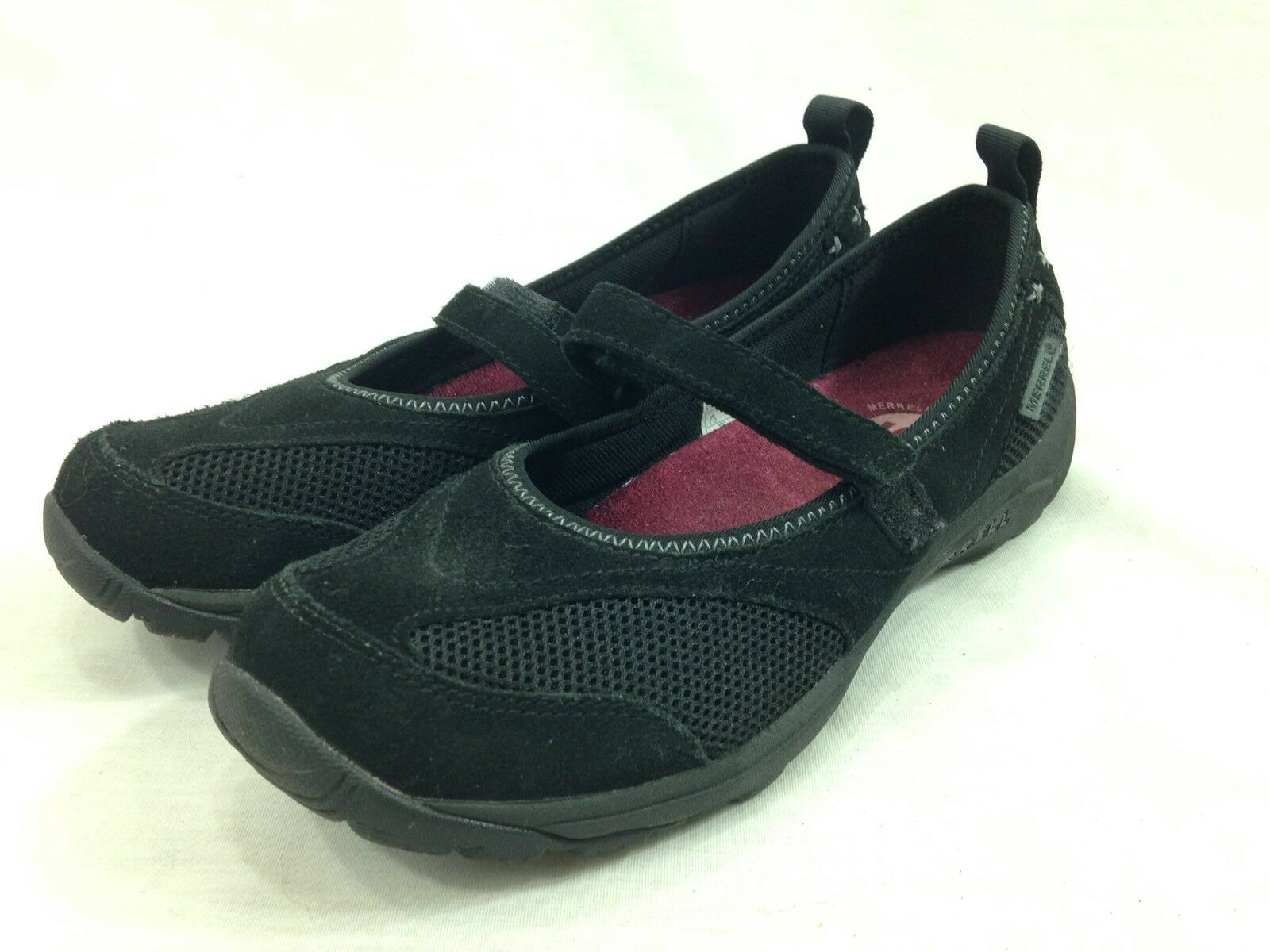 Merrell AirCushion shoes shoes shoes Womens 7.5 Black Mary Jane Slip On Close Toe Mesh Suede 7969a6