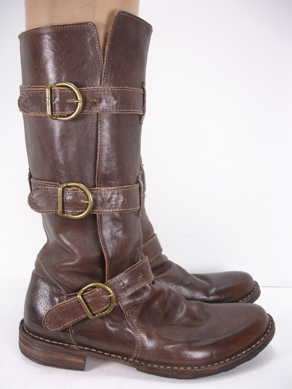 FIORENTINI+BAKER LEATHER 3 BUCKLE ETERNITY TESTA MOTORCYCLE MGold MOTORCYCLE TESTA Stiefel damen 40 4a5833
