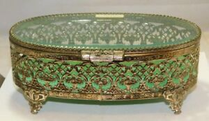 Antique-Silver-Plated-Filigree-Glass-Jewelry-Casket-Box-Green-Velvet-Unused