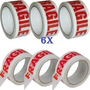 6X-CHEAPEST-BIG-ROLLS-FRAGILE-PRINTED-PACKAGING-PARCEL-TAPE-48mm-x66m-LOW-NOISE