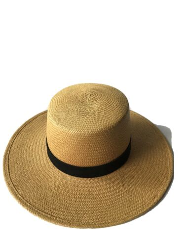 Janessa Leone Straw Boater Hat Size M