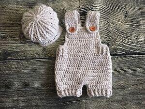 Newborn Baby Boy Crochet Overalls And Cap Set Photography Prop