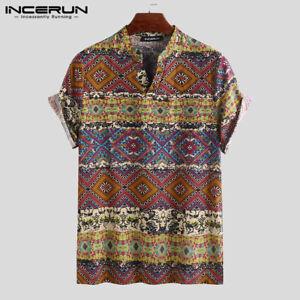 INCERUN-Men-039-s-Short-Sleeve-Floral-T-Shirt-Hippy-Causal-100-Cotton-Shirt-Tops-Tee