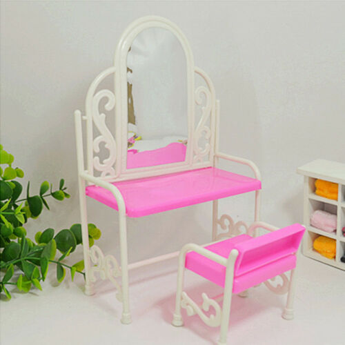 1 Set Doll Dresser With Chair Makeup Desk Mirror Furniture Dollhouse Kids Toys