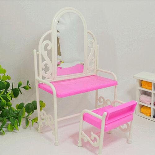 1 Set Doll Dresser With Chair Makeup Desk Mirror Furniture Dollhouse Kids Toys