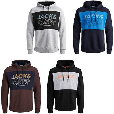 Jack /& Jones Core Hoodie Logo Print Drawstring Hooded L//S Sweater Mens JCOMondo
