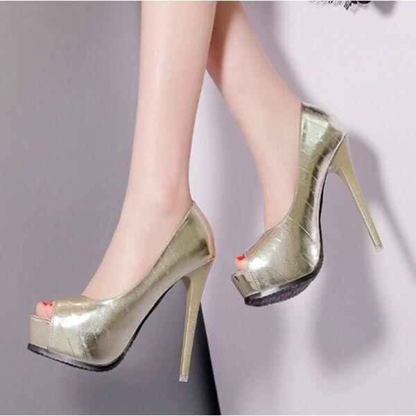 zapatos de salón elegantes mujer alto talón 13 plataforma oro abierto como piel