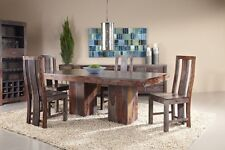 KraftNDecor Wooden Dining Set with 1 Table and 4 Chairs in Brown Colour