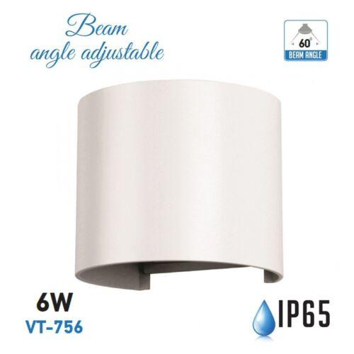 LAMPADA DA MURO APPLIQUE 6W BIANCO ESTERNO IP65 DOPPIO LED V-TAC VT-756 CALDA