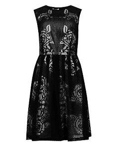 Marks-amp-Spencer-Collection-Black-Burnout-Rose-Pattern-Skater-Prom-Dress