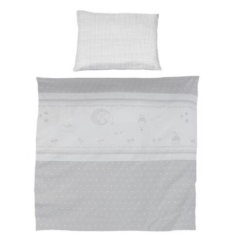 Roba Kinderbettwäsche Bettwäsche 2-teilig 80x80 40x35 cm Glücksengel grau NEU