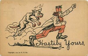 DB-Comic-Postcard-H432-Hastily-Yours-Peter-Pan-Man-Dog-Cancel-1908-M-N-Co