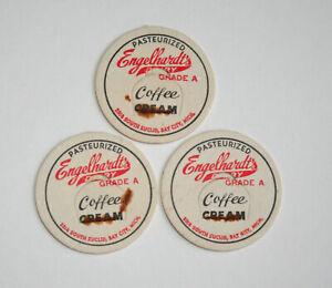 3-Engelhardts-Dairy-Farms-Coffee-Cream-Milk-Bottle-Cap-NOS-1950s-Bay-City-Mich