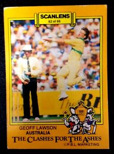 SCANLENS-AUSTR<wbr/>ALIA: GEOFF LAWSON 1986-87 CLASHES FOR THE ASHES Cricket Card # 62